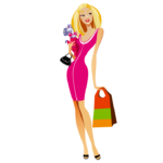 Smiling-Girl-Shopping-Vector-Puppy-Transparent-PNG